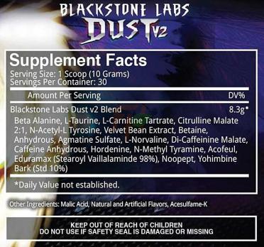 Blackstone Labs Dust V2 300 g 30 serv supplement facts