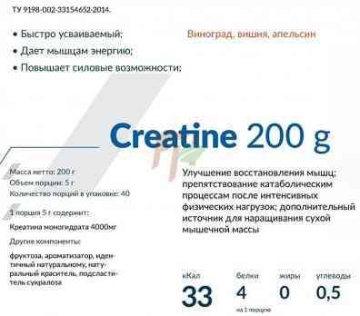 Cybermass Creatine 200 гр состав
