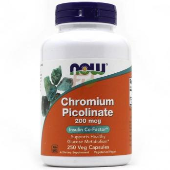 NOW Foods Chromium Picolinate 200 mcg 250 veg capsules