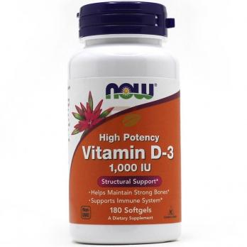 NOW Foods Vitamin D-3 1,000 IU 180 softgels