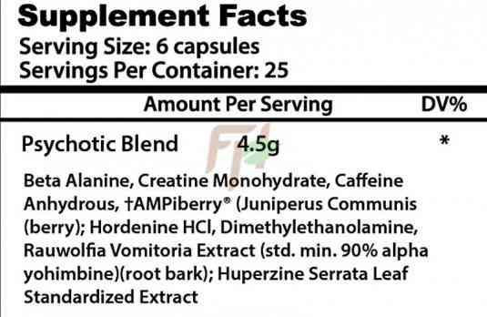 Insane Labz Psychotic capsules список ингредиентов