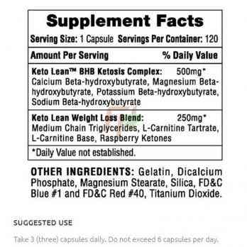 Hi-Tech Pharmaceuticals Keto Lean supplement facts