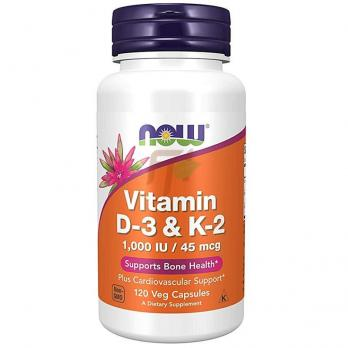 NOW Vitamin D-3 & K-2 (120 капсул)