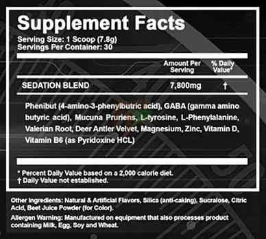 Intel Pharma Comatose supplement facts