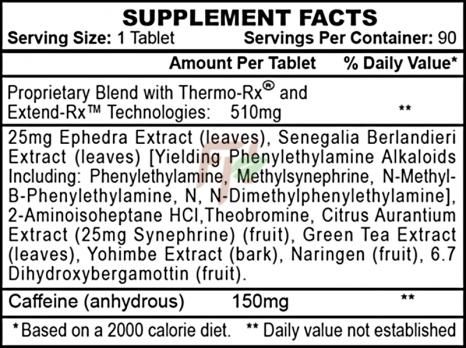 Hi-Tech Pharmaceuticals Stimerex ES - supplement facts