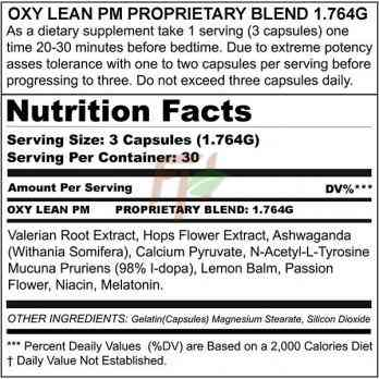 Genone Labs Oxy Lean PM - supplement facts